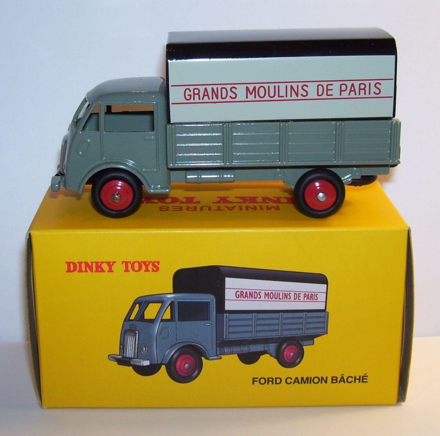 DINKY TOYS ATLAS FORD CAMION BACHE GRANDS MOULINS DE PARIS REF 25JV 1 58 BOX b