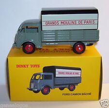 DINKY TOYS ATLAS FORD CAMION BACHE GRANDS MOULINS DE PARIS REF 25JV 1/58 BOX b