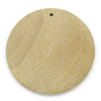 """50PCs Charm Wooden Pendants Round Natural 3cm Dia.(1 1/8"""")"""