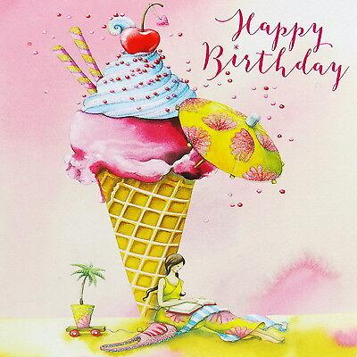 Nina Chen Postkarte 14x14 Happy Birthday Frau mit Eis