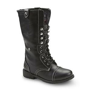Bongo Girl's Sasha Black/Plaid Combat Fashion Boot [155Q]