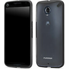 For Motorola Nexus 6 Case Cover Slim Clear Black Rubber Hybrid Protective Shell