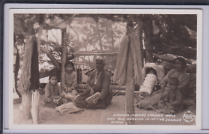 Details About Rppc Navajo Rug Weavers In Summer Hogan 1930s Era Arizona Or New Mexico