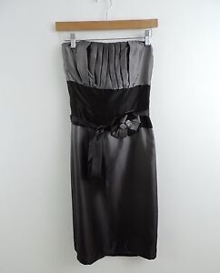Women-039-s-White-House-Black-Market-Gray-amp-Black-Strapless-Dress-Size-2