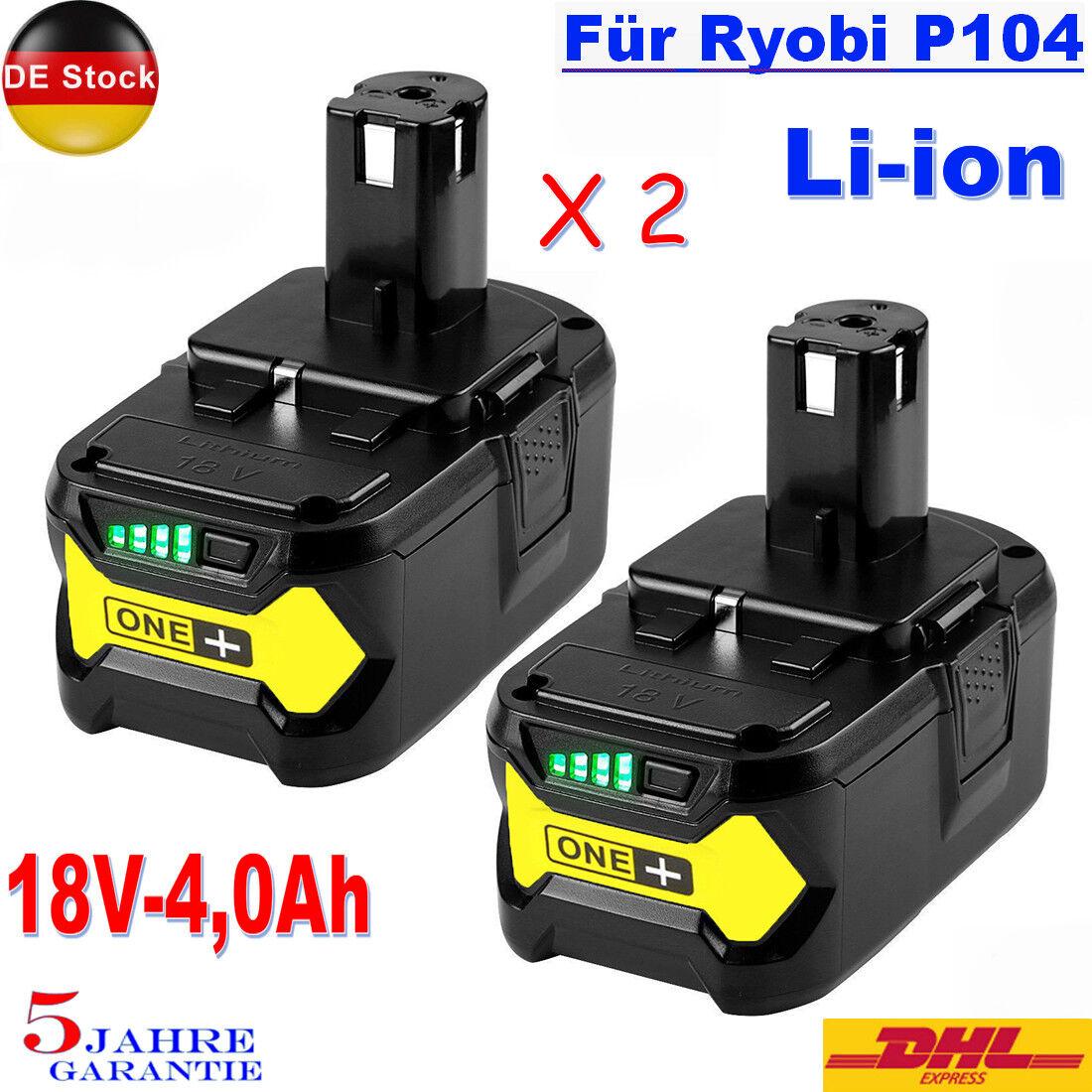 2X 18V Für P108 Ryobi One Plus High Capacity Akku P104 P105 P107 Batterie 4,0Ah