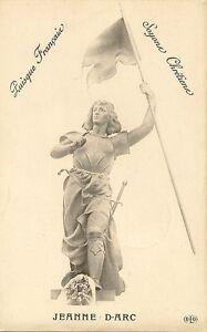 CARTE-POSTALE-FANTAISIE-FIGURE-HISTORIQUE-JEANNE-D-039-ARC-SOYONS-CHRETIENS