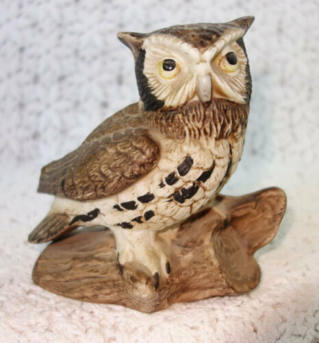 This Wise Old Owl Ceramic Figurine - Hand-painted Realism