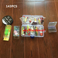143lots Simulate Fishing Lures Bait Kit Spoons Hooks Classic Accessory Case Box