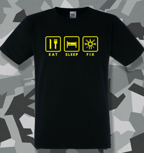 Eat Sleep Fix T-Shirt mens handyman mechanic DIY dad birthday gift Claytons