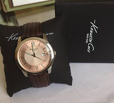 Kenneth Cole New York Men's Classic Display Watch Leather Strap Brown