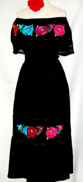 fe83272bf9259 Black Mexican Dress off shoulder ruffle Floral Embroidery Peasant Cotton Vtg