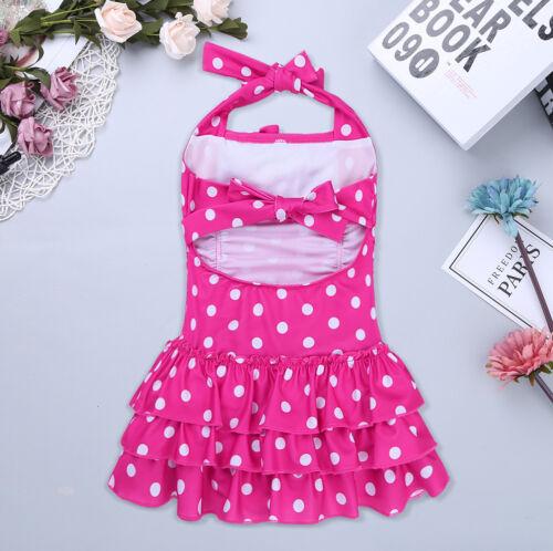 Kids Girl Halter Polka Dot Bathing Suit Adjustable One Piece Swimsuit Swim Dress