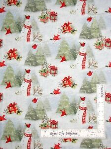 Christmas-Snowy-Cardinals-Snowman-Susan-Winget-Cotton-Fabric-CP69168-By-The-Yard