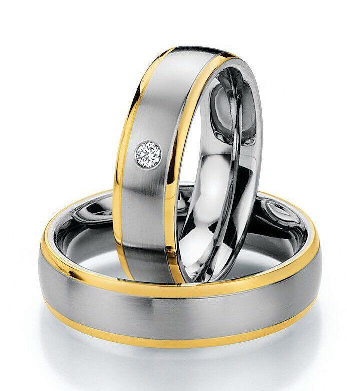Ring Ehering Freundschaftsringe Partnerringe Verlobungsringe Steel gold Brillant