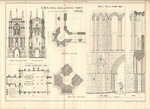 Walton Church Detail First And Secon Beautiful And Charming 1884 Antique Architectural Print Norfolk