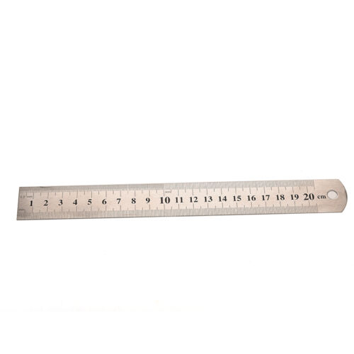 1Pc Silver Bottom Stainless Steels 20cm Metal Rulers Metric Rule Precisions DIUK