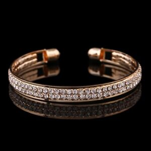 18K-GOLD-PLATED-BANGLE-MADE-WITH-CLEAR-SWAROVSKI-CRYSTALS-BRACELET-GIFT-GPB