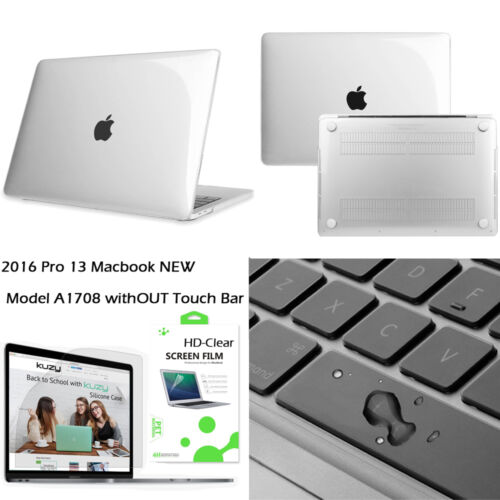 """HD-CLEAR Keyboard Cover Hard Case LCD For 2016 NEW Macbook Pro13/""""w//out Touch Bar"""
