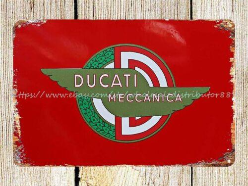 plaque design Ducati Meccanica motorcycle bike emblem metal tin sign