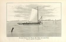 Rare Denton 1895 Fish Print - Driving Stakes for Pound Net Boat on Lake Erie