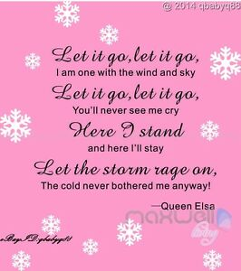 Image Is Loading Let It Go Lyrics Disney Frozen Elsa Snowflake
