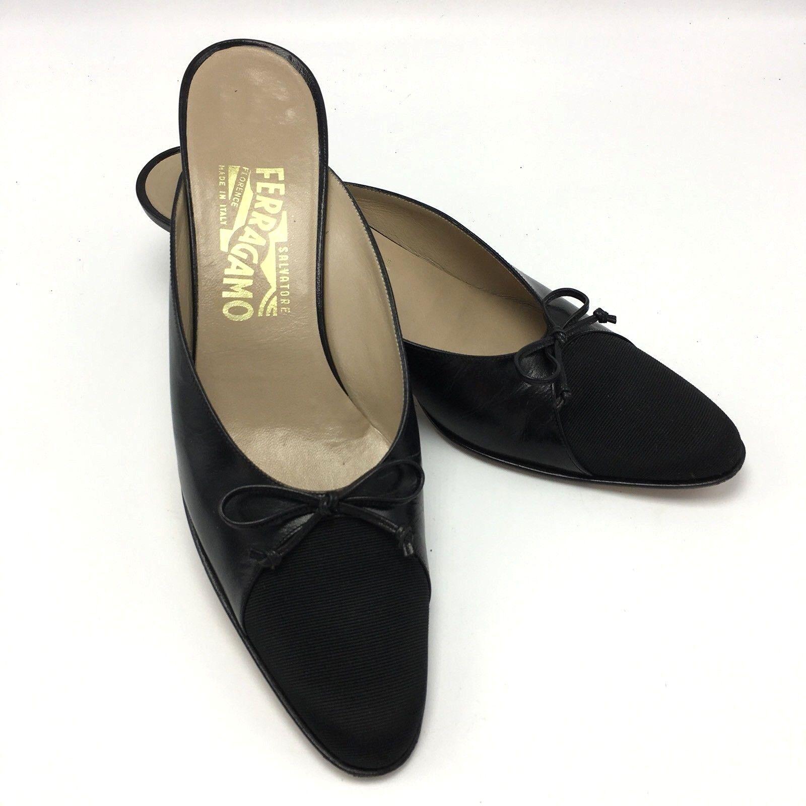 SALVATORE FERRAGAMO chaussures en cuir noir nœud petit talon mules gros-grain 9 étroit