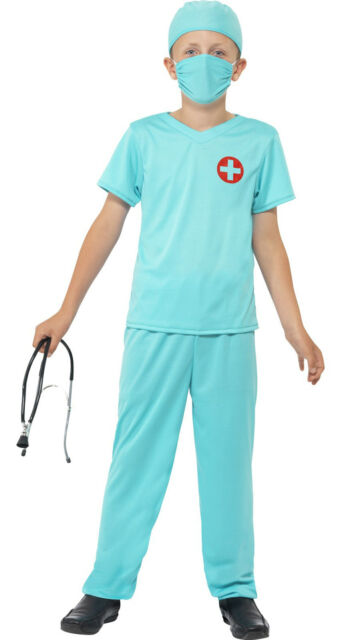 Doctor Kids Fancy Dress T-Shirt Costume Dressing Up Outfit  Age 4-6