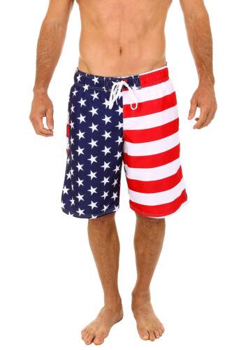 Uzzi Men/'s Patriotic USA American Flag Swim Trunks