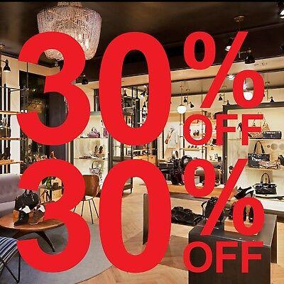 2x 30/% OFF Sale Shop Window Glass Sign Vinyl Stickers Retail Display Decals 5525
