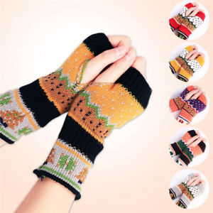 Ladies-Winter-Knitted-Crochet-Arm-Warmer-Mittens-Long-Fingerless-Gloves-J