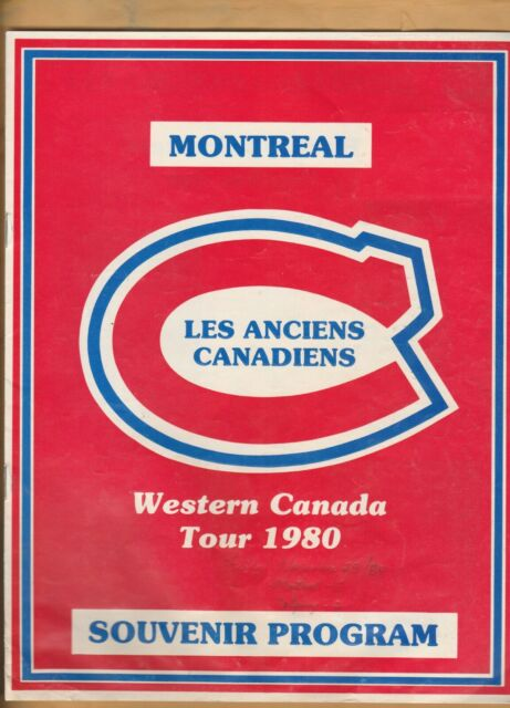1980 WESTERN CANADA TOUR PROGRAM MONTREAL CANADIENS OLD TIMERS W/ TICKET STUB