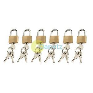 6x-Laiton-20mm-Cadenas-Mini-Petit-Baggage-Voyage-Vacances-Valise-Lock-Sac-3-Cles