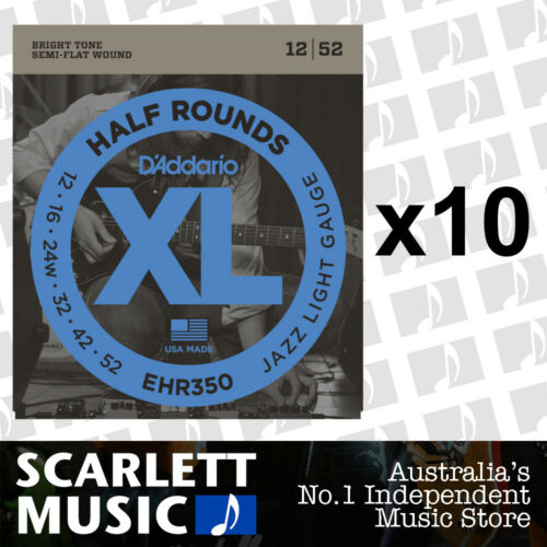 10x D'Addario EHR350 Half Round Electric Guitar Strings, Jazz Light, 1252