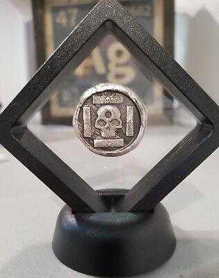 1 oz 999 Silver hand poured iron cross skull 3d momento mori pirate Framed NEW!