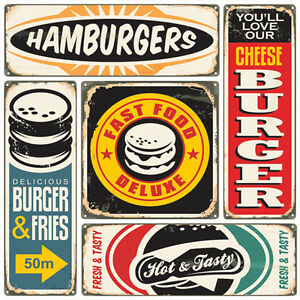 Metal vintage retro american diner tin sign plaque cheese for Plaque metal cuisine
