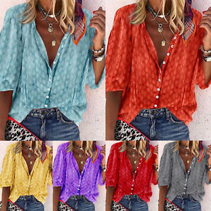 Plus-Size-Women-V-Neck-T-Shirt-Blouse-3-4-Sleeve-Button-Summer-Casual-Tunic-Tops