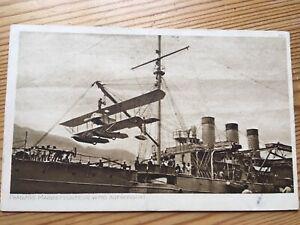 AK-Alte-Karte-Doppeldecker-Wasserflugzeug-Marineflugzeug-1917-Feldpost