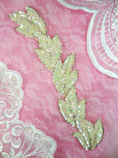 """FS511 Applique White Iris Sequin Silver Beaded Sewing Crafts Patch Motif 8.25"""""""