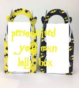 Cartoon-Party-Lolly-Loot-Favor-Box-Bag-Bunting-Flag-Personalised-Custom-Batman