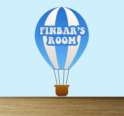 Personalizado Hot Air Balloon Pared Arte Pegatina Calcomanía Chicas Chicos Niños Calcomanía azul