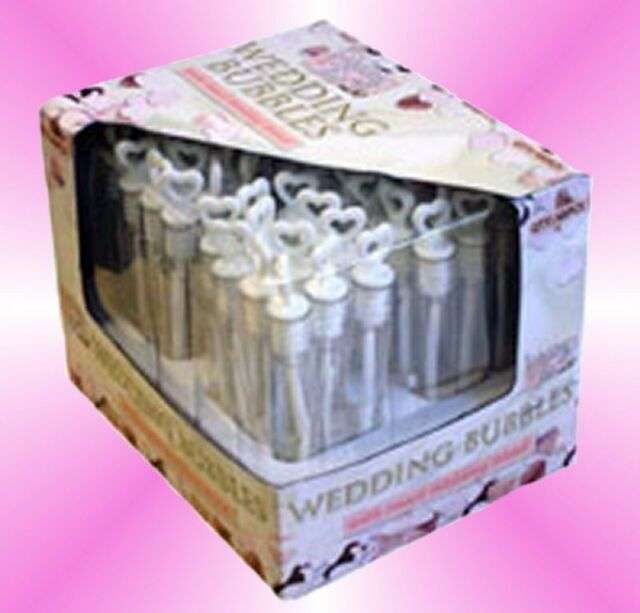 48 White Wedding Bubble Tubes With Heart Wand Table Decoration Confetti Favour