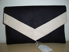 OVER SIZED BLACK AND CREAM faux suede envelope clutch bag, fully lined BN!