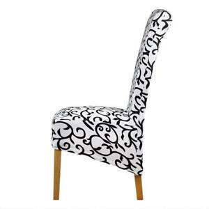Details about White and Black Long Back Chair Cover Checked Pattern Wedding And Party Seat New
