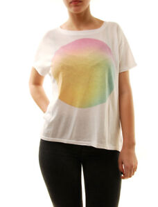 Sundry-Women-039-s-Boxy-Fit-T-shirt-Print-On-Chest-White-Size-US1