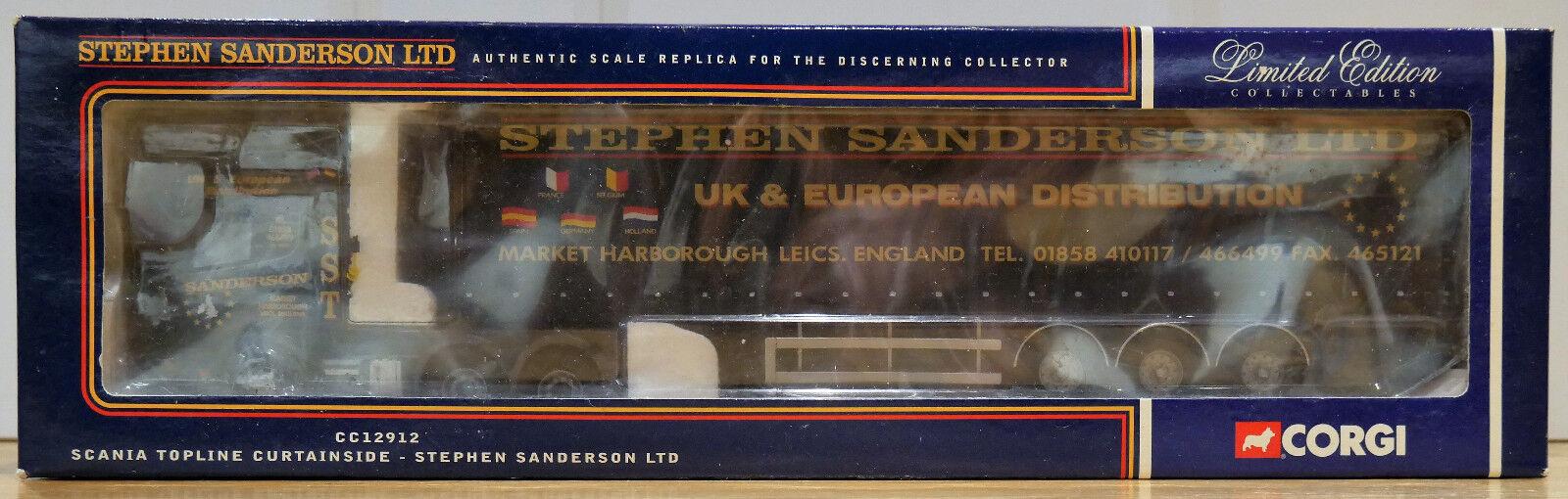 Corgi 1 50 CC12912 Scania Topline Curtainside Stephen Sanderson 2648  2900 MIB  coloris étonnants
