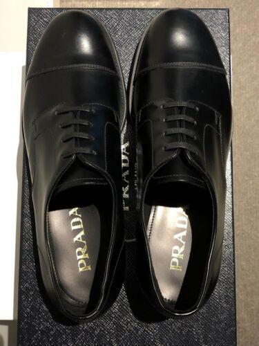 Leather Toe Shoes Prada Mens Cap Formal Eu40 Uk6 Calf Derby Black Size qqtwU6