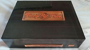 ROCKY PATEL LOGO LACQUERED BROWN HUMIDOR LINED JEWELED CIGAR BOX