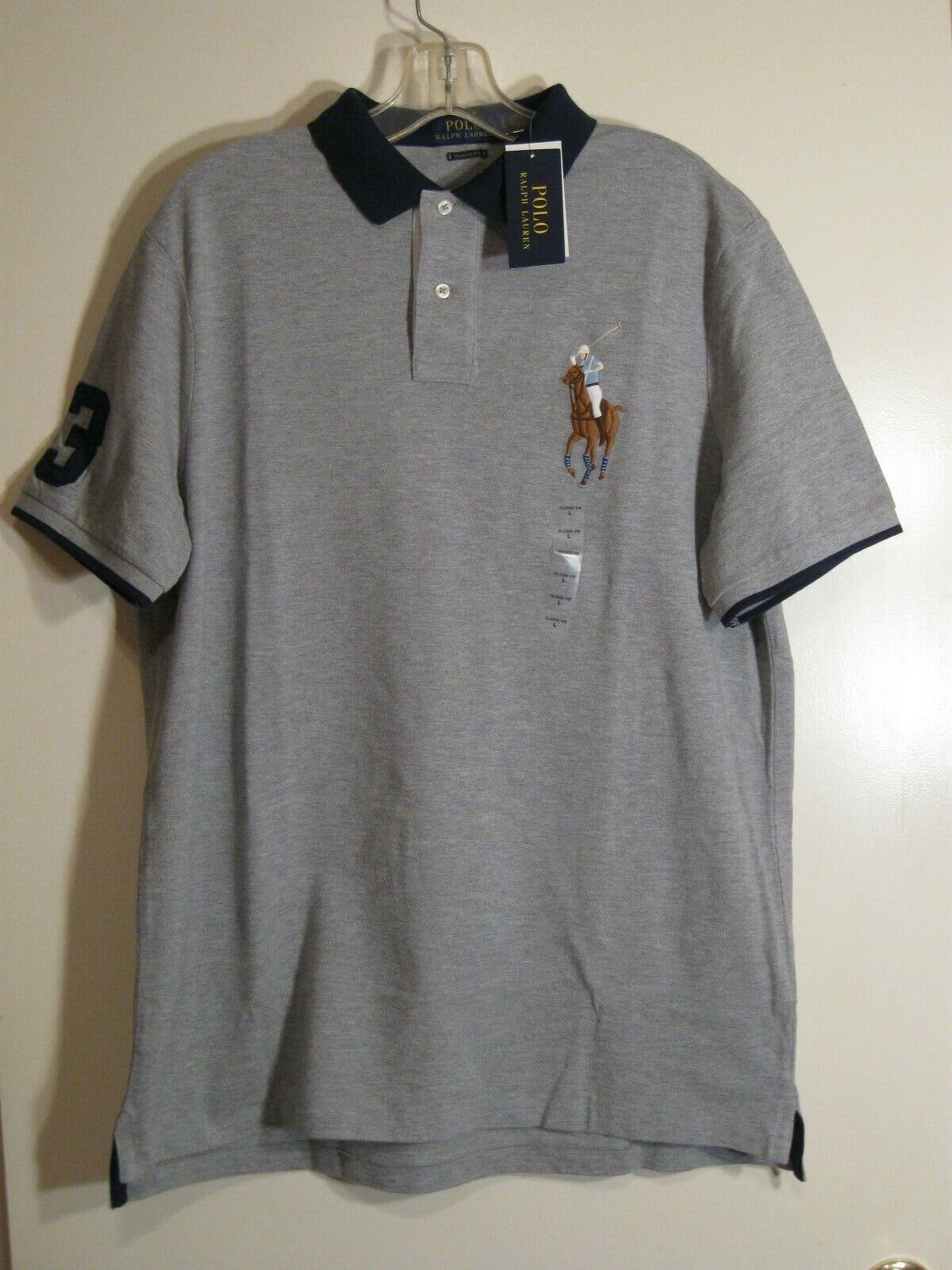 Polo Ralph Lauren Classic Fit Big Pony Polo Shirt NWT Grey Heather