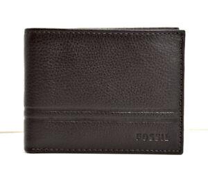 FOSSIL-HOMME-deux-volets-en-Cuir-Carte-portefeuille-avec-fenetre-d-039-identifiant-de-marron