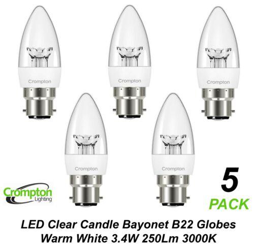 5 x 3W LED Clear Candle Light Globes Bulbs Lamps Warm White B22 Bayonet 3000K